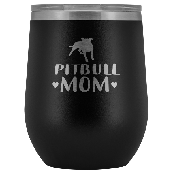Pitbull Mom Mom 12oz Double Walled Stainless Steel Tumbler - Powder Coated and Laser Etched- Mother's Day Gift Idea For Dog Lovers