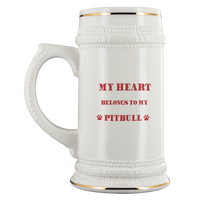 My Heart Belongs To My Pitbull Ceramic Beer Stein Mug: Cute Valentine's Day Gift Idea For Beer Lovers