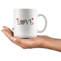 Love With A Dog Paw Print & A Christmas Hat Mug