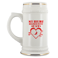 My Heart Belongs To My Cat White Ceramic Beer Stein Mug (22oz): Funny Gift Idea For Dog & Beer Lovers