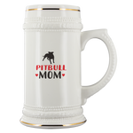 Pitbull Mom White Ceramic Beer Stein Mug (22oz): Cute gift idea for dog and beer lovers