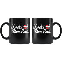 Colorful Best Cat Mom Ever Mug with a paw and a Christmas Hat
