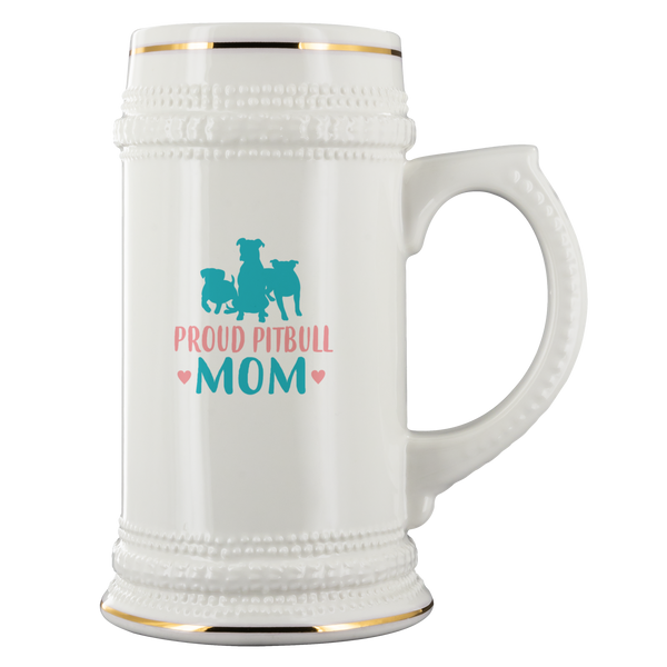 Proud Pitbull Mom White Ceramic Beer Stein Mug (22oz): Cute gift idea for dog and beer lovers