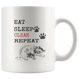 Eat Sleep Clean Repeat: Funny Cat Mug