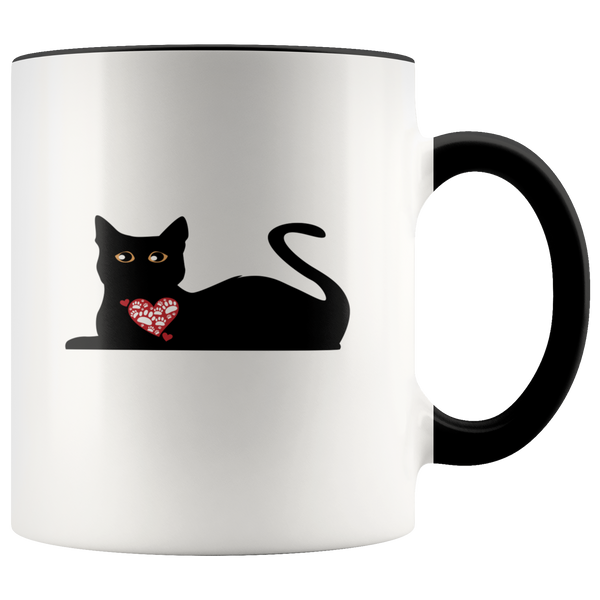 Black Cat With Heart Coffee Mug: Cute Valentine's Day Gift