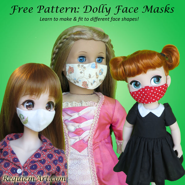 "Free Dolly Face Mask pattern for BJD 18"" animator dolls"