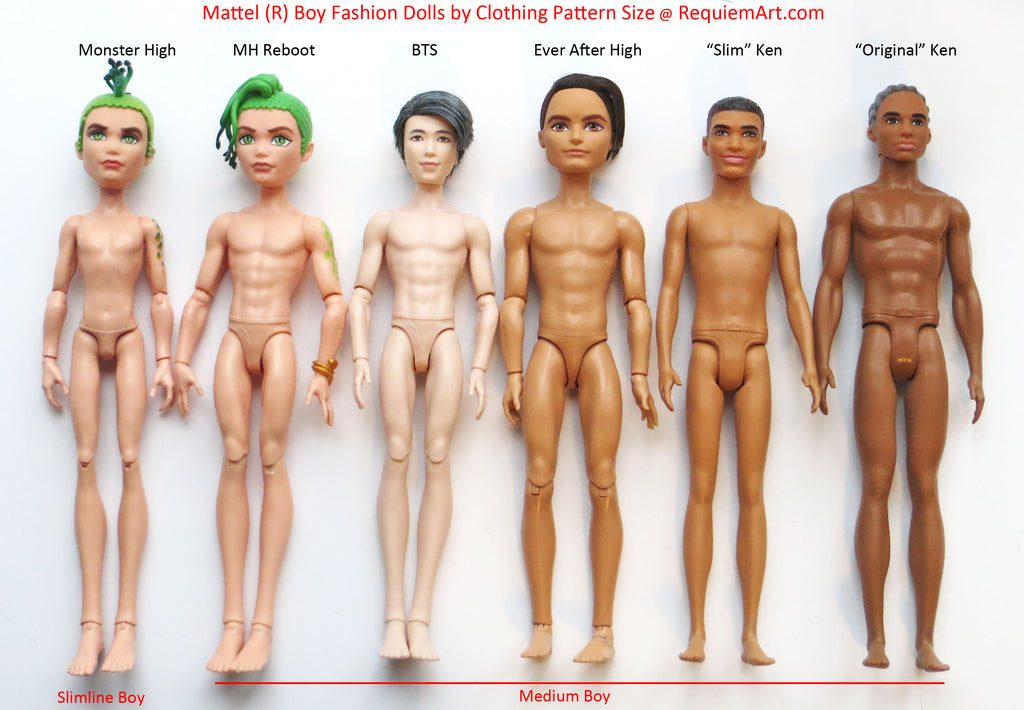 Mattel-made boy fashion dolls by size