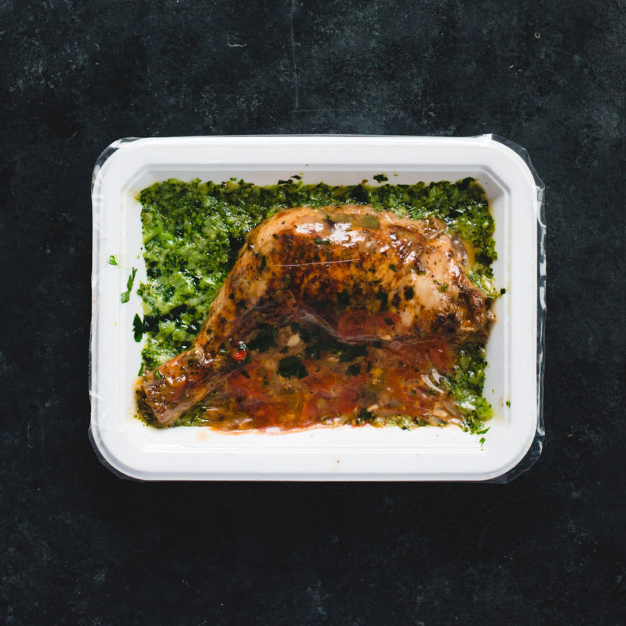 Skillet Chicken Cacciatore with Riced Broccoli