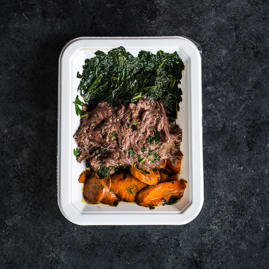 Balsamic BBQ Beef with Kale and Charred Carrots