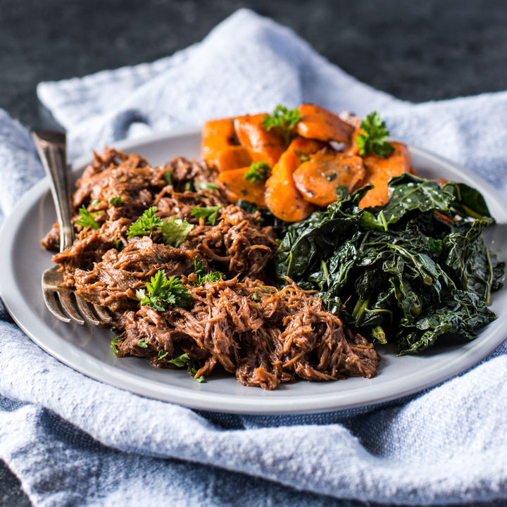 Balsamic BBQ Beef with Kale and Carrots