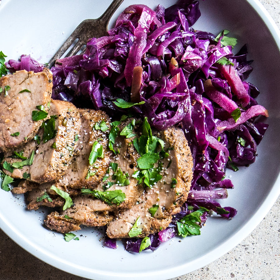 Cumin Spiced Pork Tenderloin with Sautéed Cabbage, Onions, & Apples
