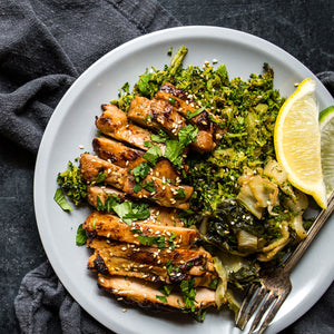 Lemon Ginger Chicken with Bok Choy & Riced Broccoli