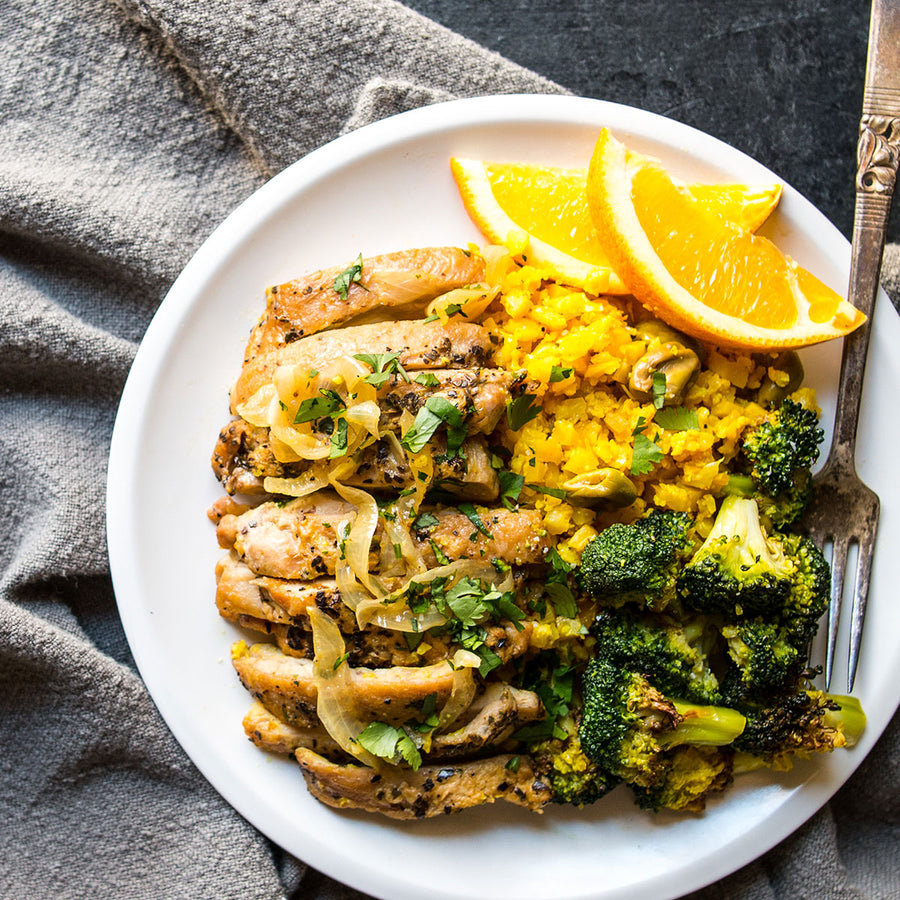 Orange & Olive Chicken with Roasted Broccoli & Yellow Cauliflower Rice