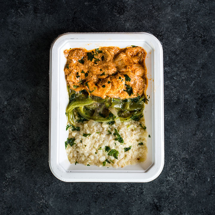 Slow-Cooked Salsa Verde Chicken with Cilantro Cauliflower Rice