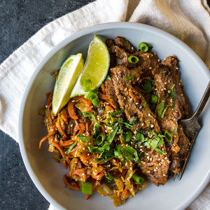 "Satay Beef with Veggie ""Pad Thai"" (Shredded Cabbage & Carrot Noodles)"