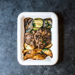 BBQ Beef & Bacon Burgers, Potatoes & Grilled Seasonal Veggies