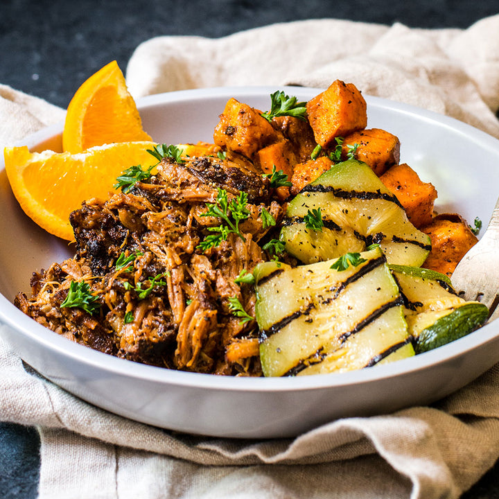 BBQ Pulled Pork, Smoky Sweet Potatoes & Grilled Seasonal Veggies