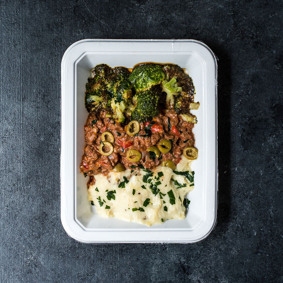 Beef Picadillo with Mashed Potatoes Broccoli