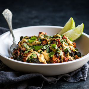 "Shredded Chicken & Winter Squash Enchilada Bake with Cashew ""Cheese"" Sauce"