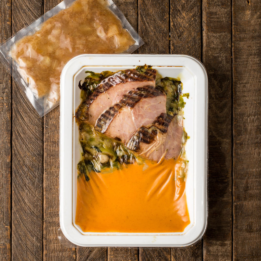 Country Ham with Applesauce, Brussels Sprouts, & Mashed Sweet Potato