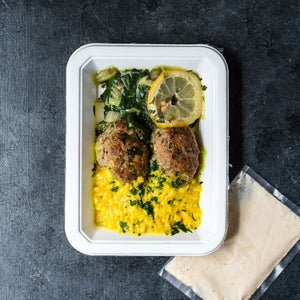 Lamb Kebab with Yellow Cauli Rice & Sauteed Swiss Chard