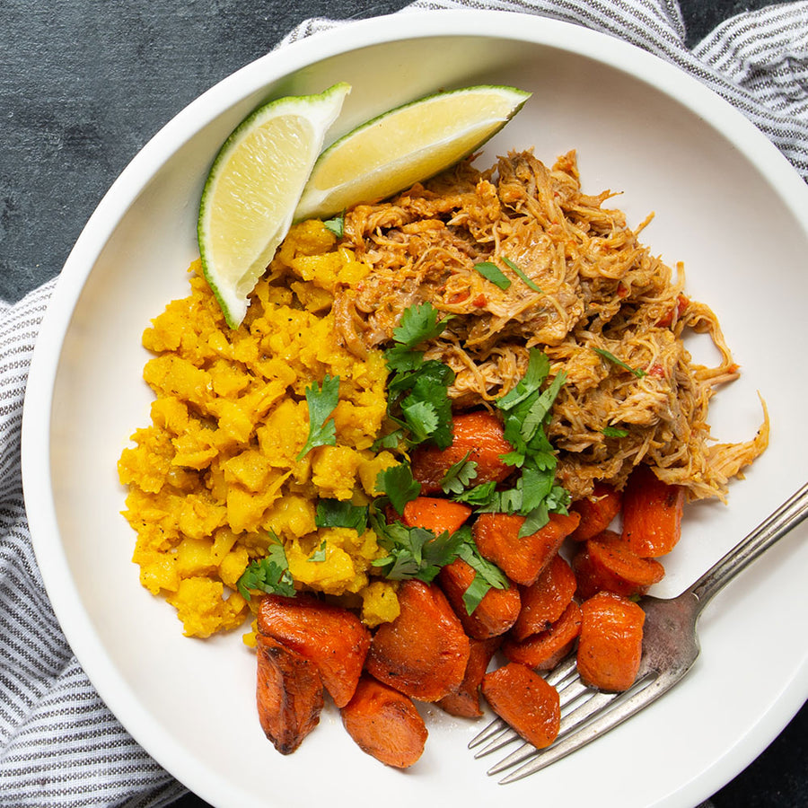 Liberian Pepper Chicken with Yellow Cauli-Rice & Carrots