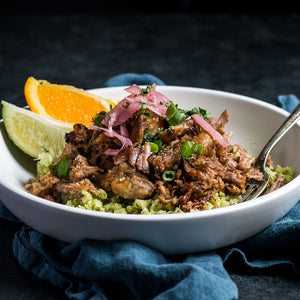Pork Shoulder Carnitas over Green Cauliflower Rice with Pickled Onions