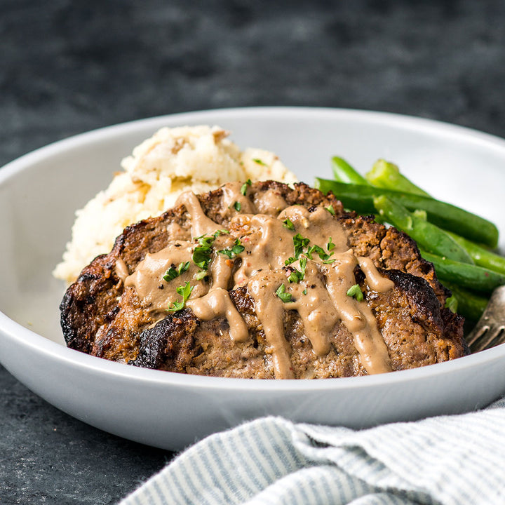 Salisbury Steak & Gravy with Mushroom Gravy, Mashed Potatoes, & Green Beans