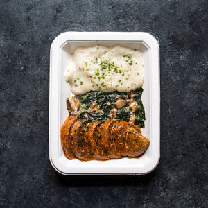 Spice-Rubbed Beef, Mashed Potatoes & Garlicky Kale with Mushrooms