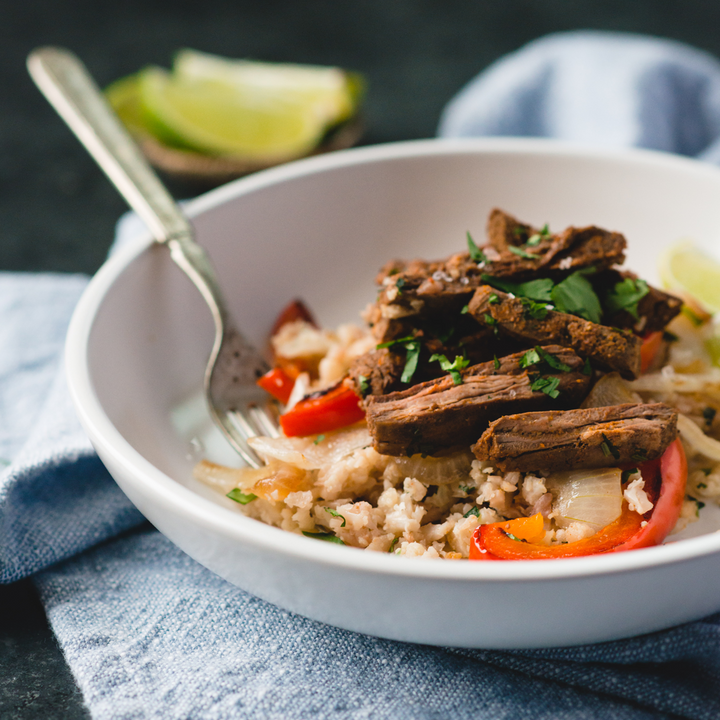 Beef Fajita Bowl with Cilantro Cauliflower Rice
