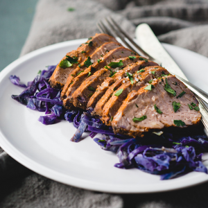Cajun Pork Tenderloin over Spicy Citrus Cabbage