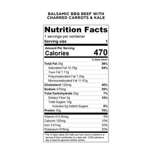 Balanced Bites Meals: Balsamic BBQ Beef with Kale and Charred Carrots - Nutrition Facts