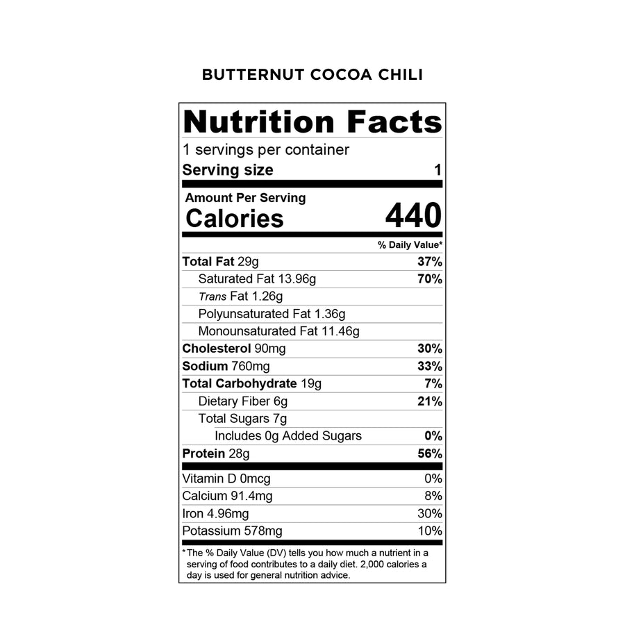 Balanced Bites Meals: Butternut Cocoa Chili - Nutrition Facts