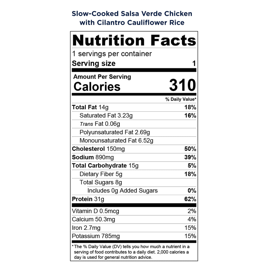 Balanced Bites Meals: Slow-Cooked Salsa Verde Chicken with Cilantro Cauliflower Rice - Nutrition Facts label