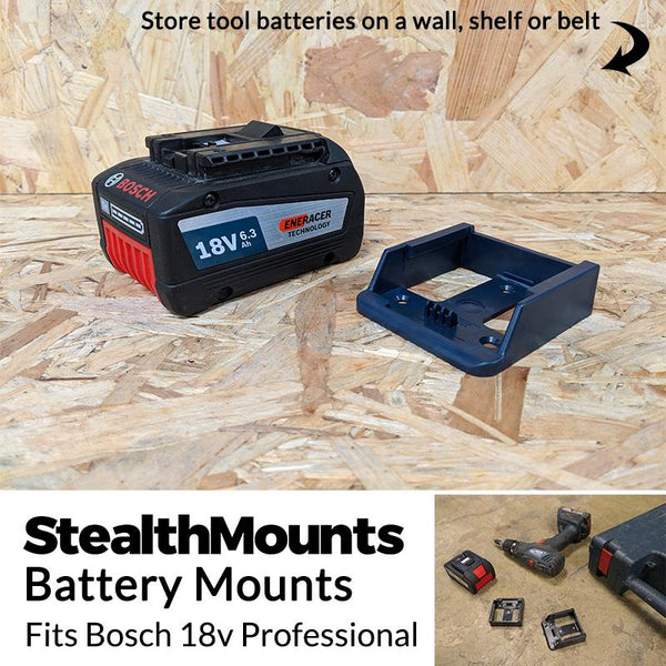 StealthMounts Blue Battery Mounts for Bosch 18v
