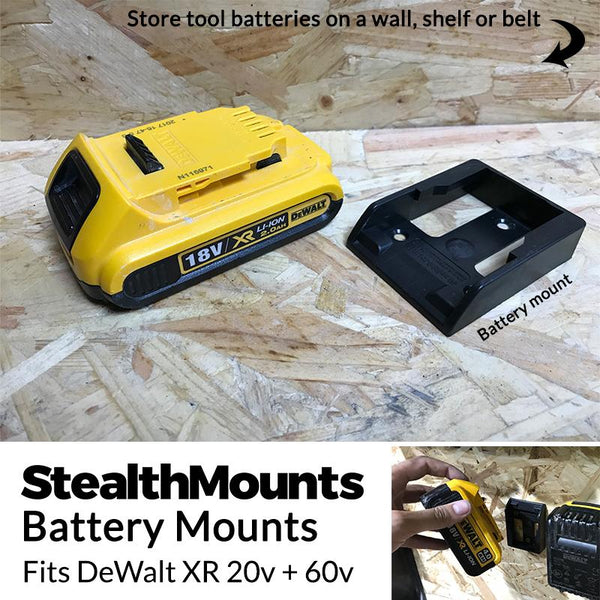 StealthMounts Black Battery Mounts for DeWalt XR