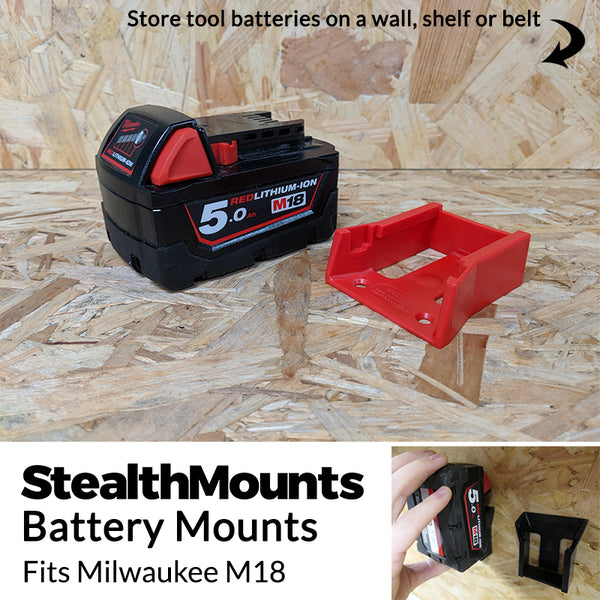 StealthMounts Red Battery Mounts for Milwaukee M18 18v