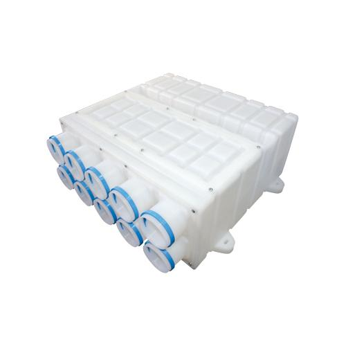 Plastic manifold, 1 x ⌀ 160mm connection, 10 x ⌀ 75mm ports