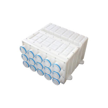 Plastic manifold, 1 x ⌀ 180mm connection, 15 x ⌀ 75mm ports