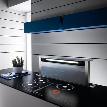 Elica Andante Stainless Steel-Black-White Glass with External Motor