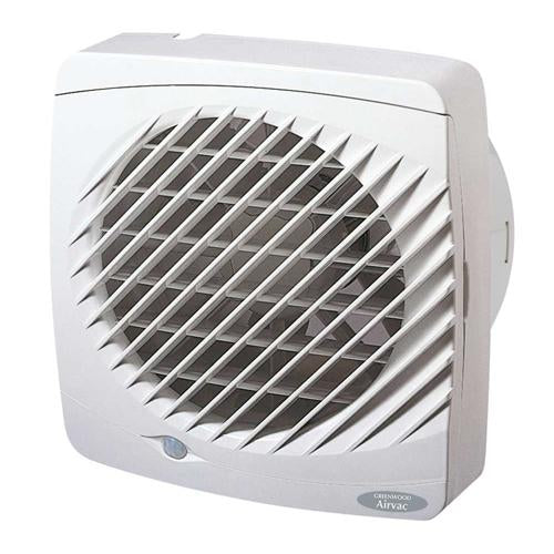 Kitchen Window Extractor Fan with Humidistat, Run-on Timer & Automatic Shutters Greenwood 1B-EL150HTR-EW150