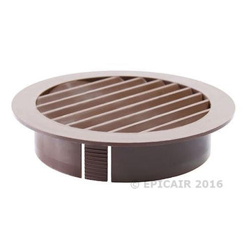"100mm-4"" External Louvered Shutter - Brown"