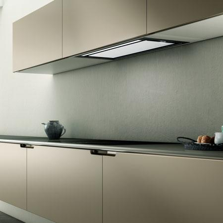 Built-in Cooker Hood Elica Sleek in White Glass with LED Lighting & Touch Controls