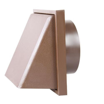 "150mm-6"" External Weatherproof Cowl with Back draught Shutter - Brown"