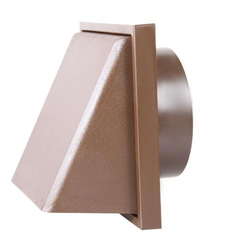 "100mm-4"" External Weatherproof Cowl with Back draught Shutter - Brown"