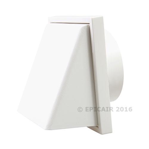 "125mm-5"" External Weatherproof Cowl with Back draught Shutter - White"