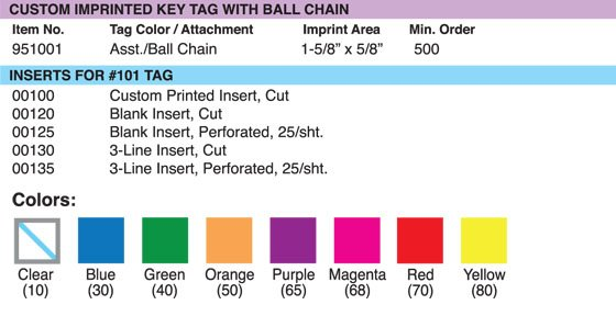 Custom Imprinted Key Tag with Ball Chain Grid1