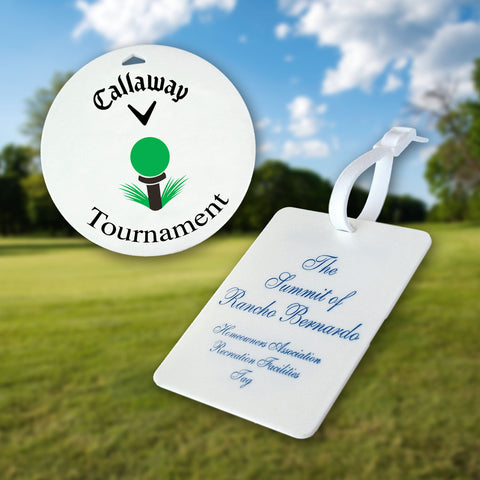 custom golf tags for weddings and corporate events