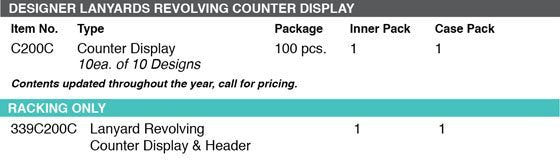 Lucky Line Lanyard Revolving Counter Display grid