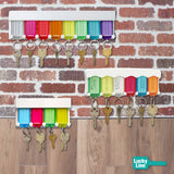 colorful key tag rack